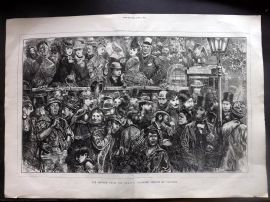 The Graphic 1872 LG Print. Return from the Derby. Clapham, London. Horse Racing